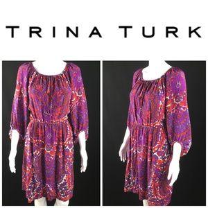 Trina Turk Sz 8 Floral Medallion Peasant Dress